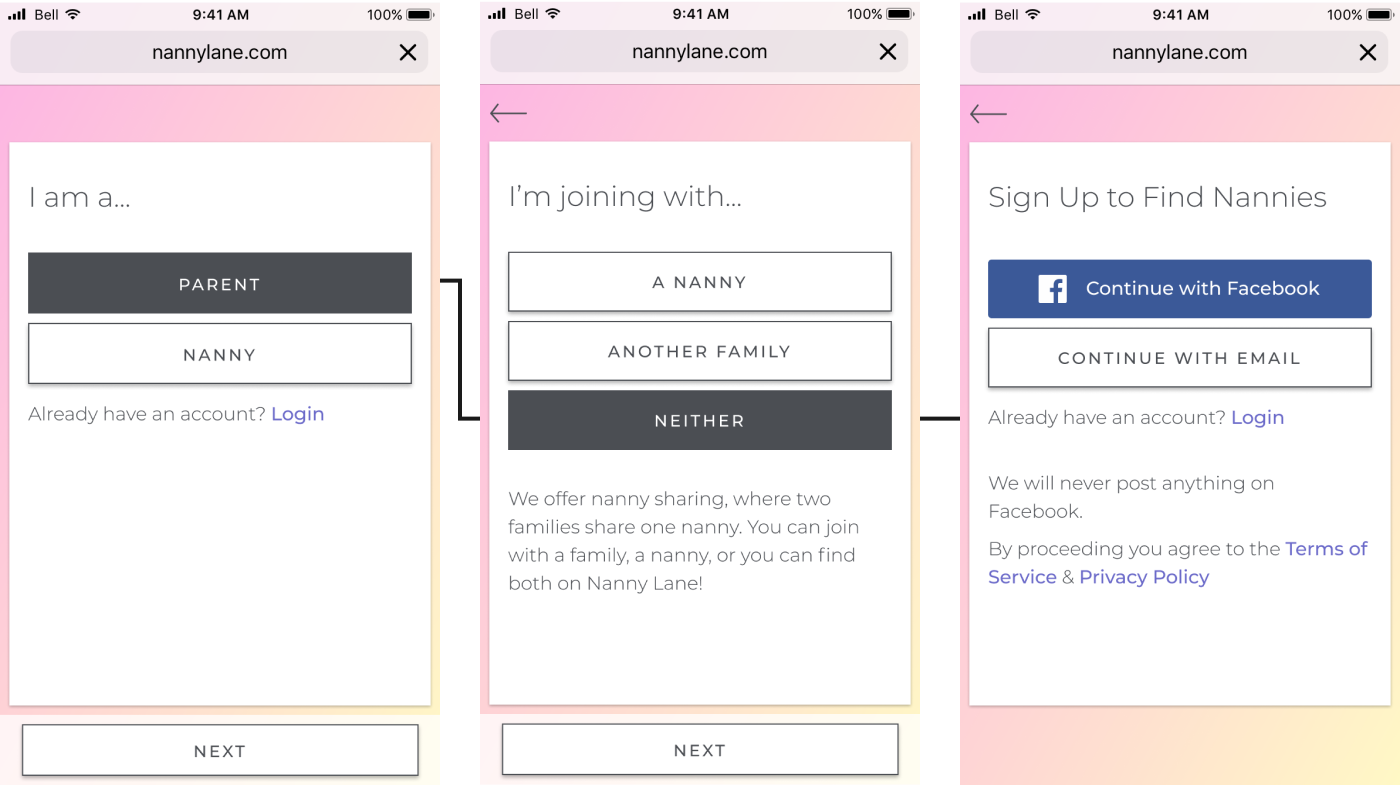 Mockups from Nanny Lane's onboarding outlining the path a Family user type take to sign up
