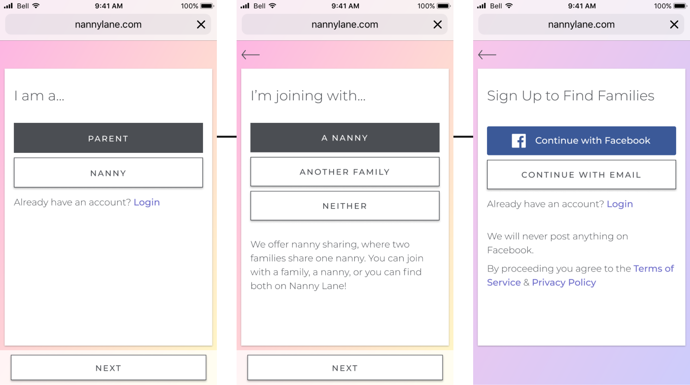Mockups from Nanny Lane's onboarding outlining the path a Family & Nanny user type take to sign up