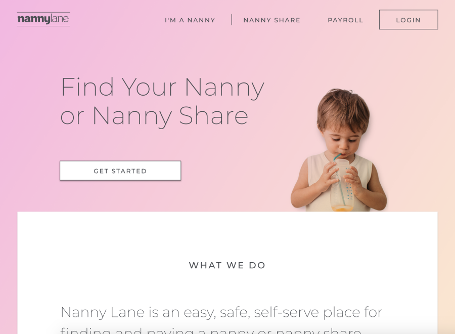 Screenshot of hero section from old nanny lane landing page