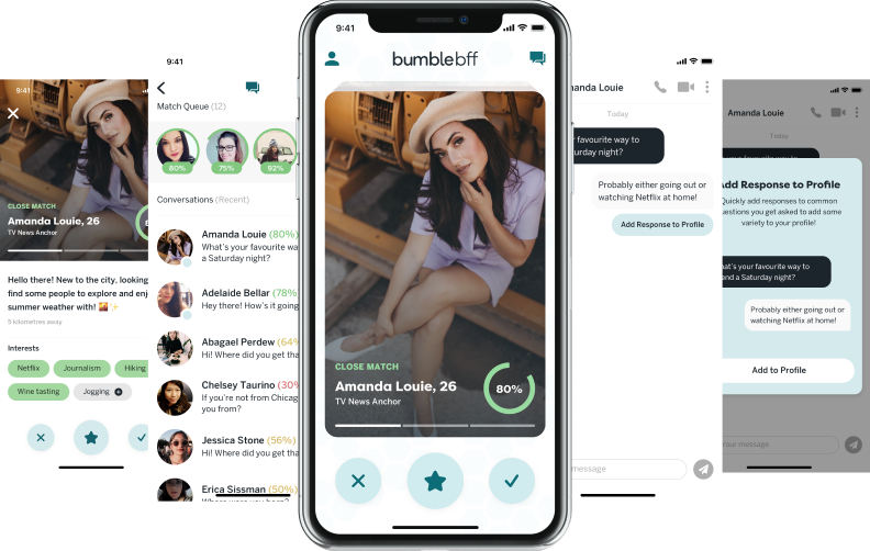 Screenshot of phone device and screen designs from Bumble BFF case study