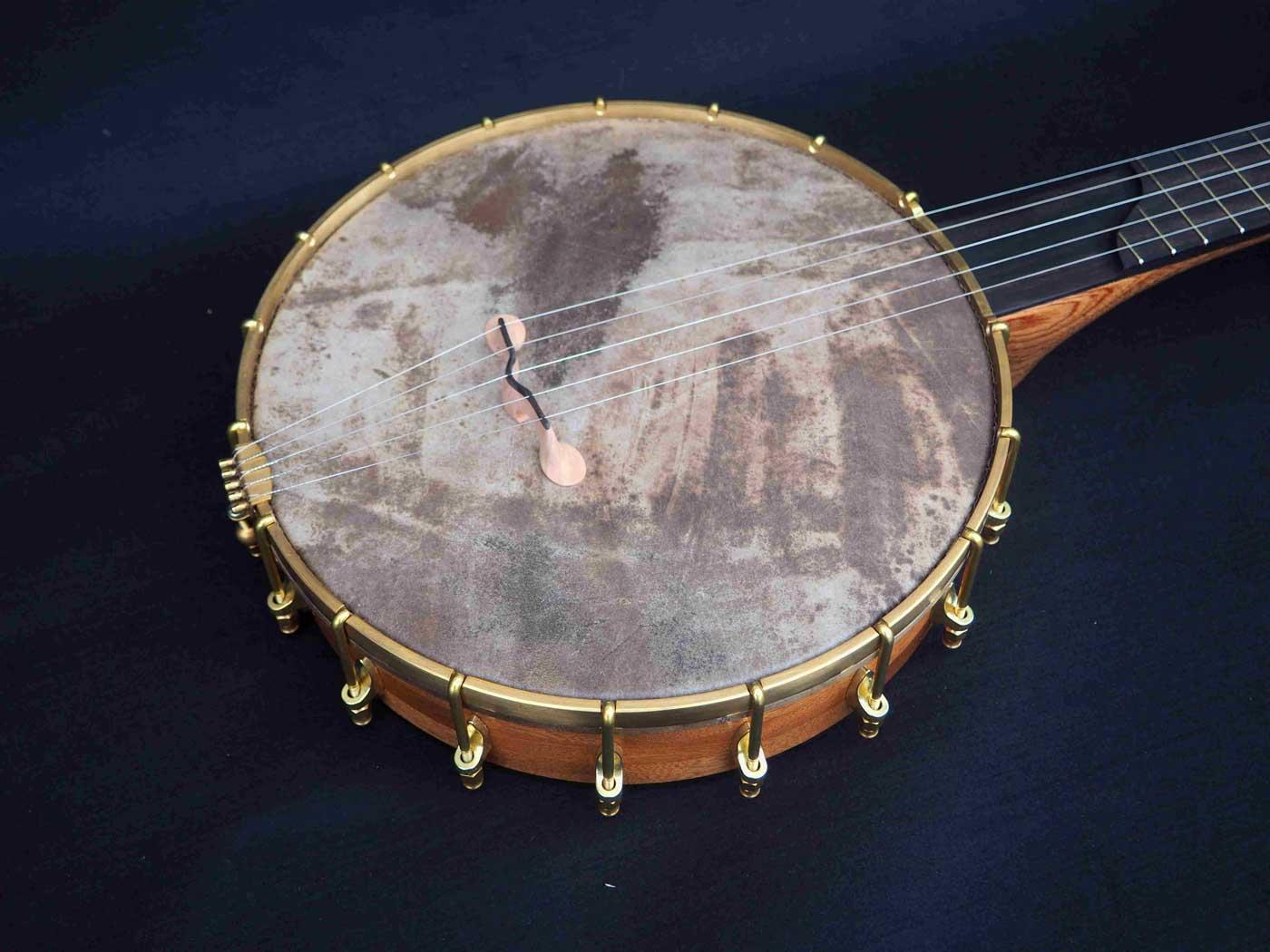 Copper plate semi fretless Banjo vellum