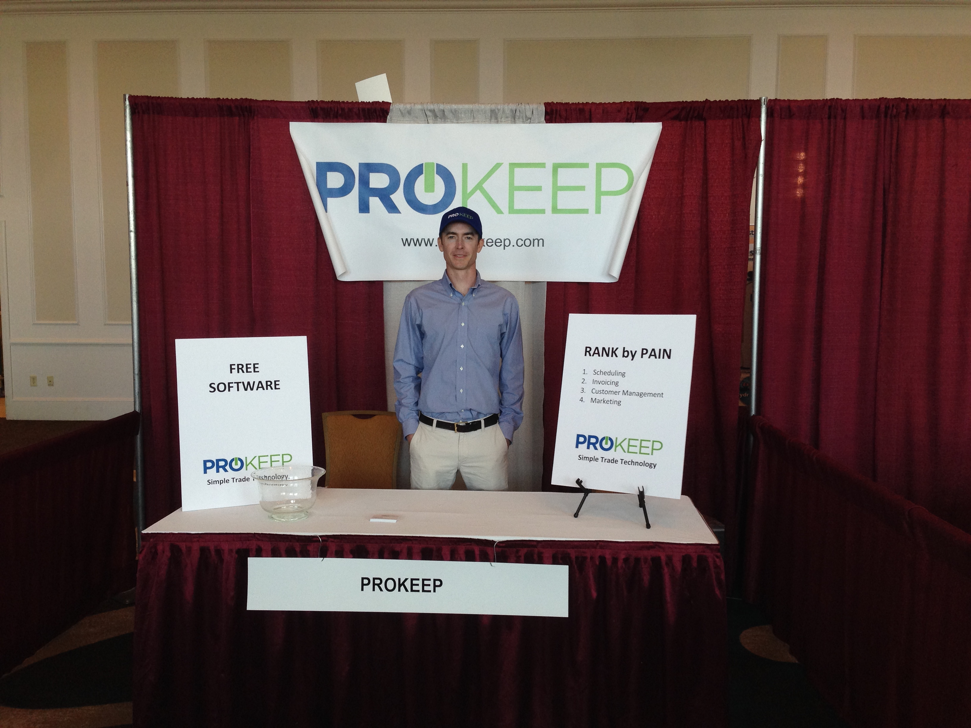 Early Prokeep booth at McKay's first conference.