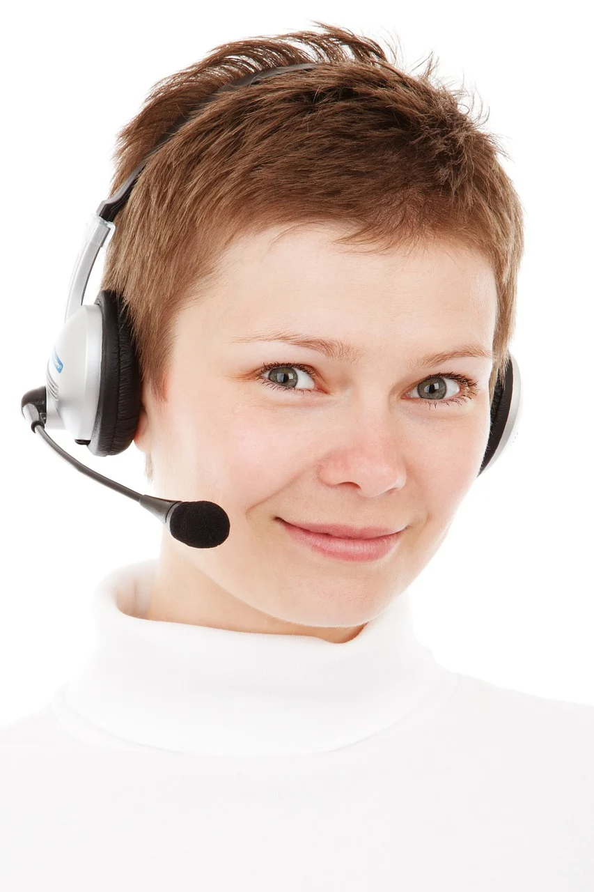 Customer support representative with headset