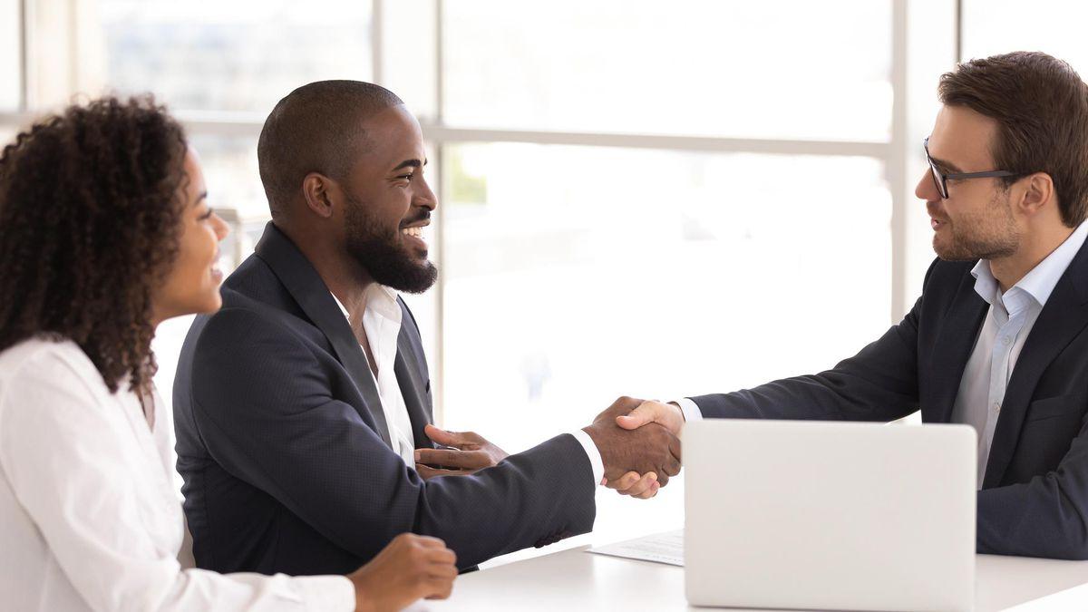 Happy client handshake