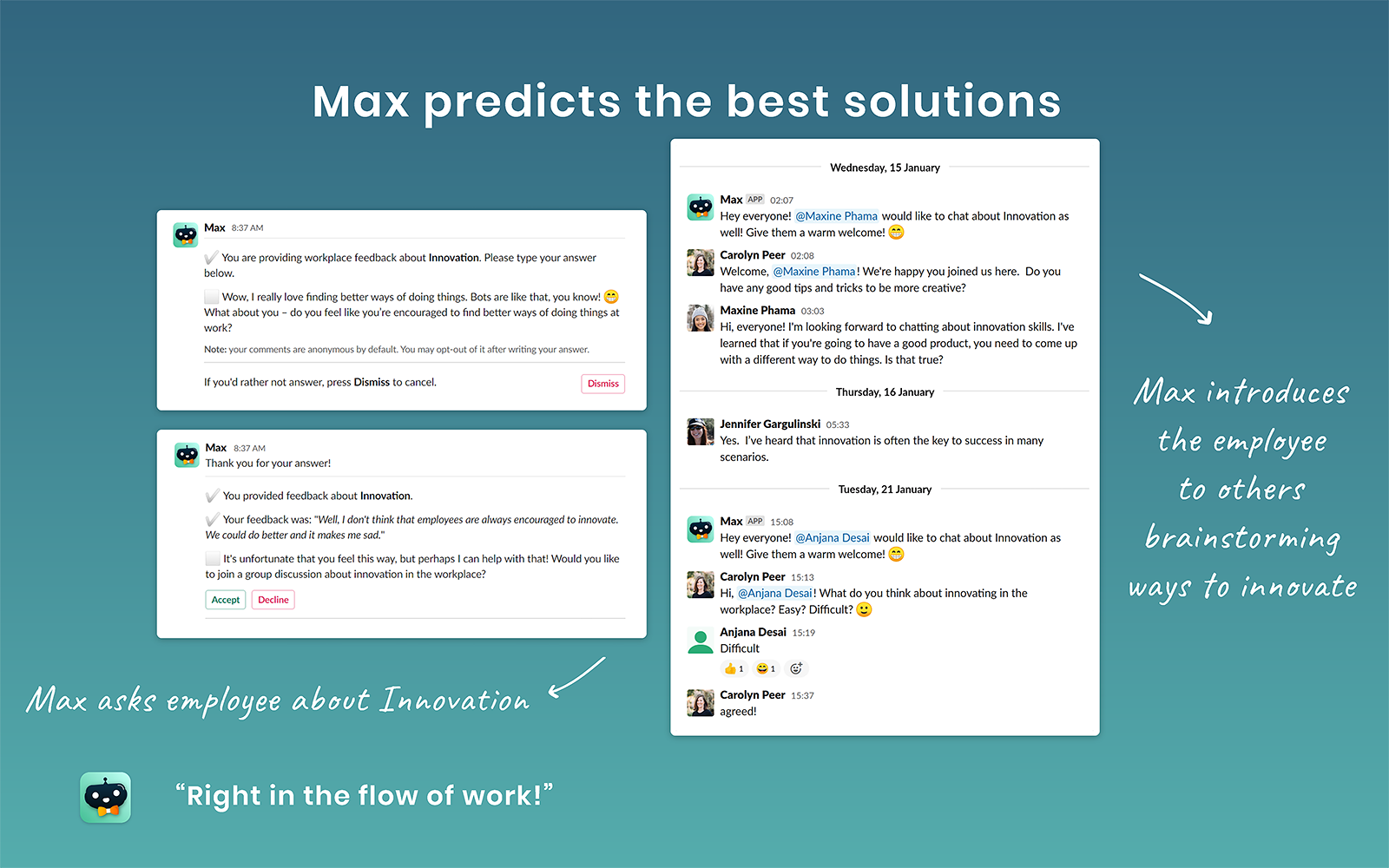An example image showing humaxa slackbot maxfred's suggesting best solutions.