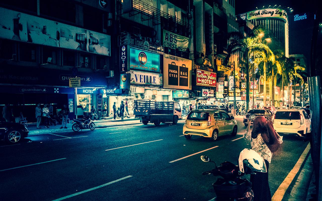 Colourful scene in Bukit Bintang district on friday night.