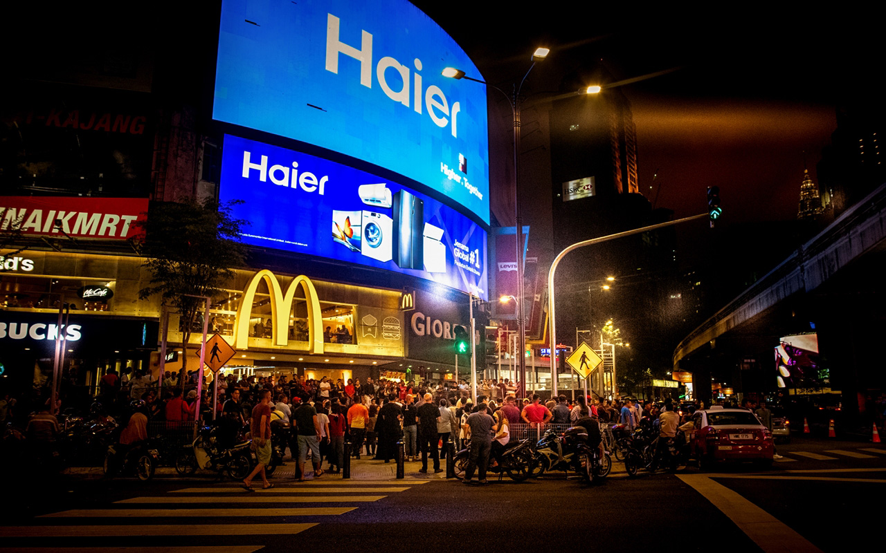One of city's busiest intersections on friday night (Bukit Bintang district).