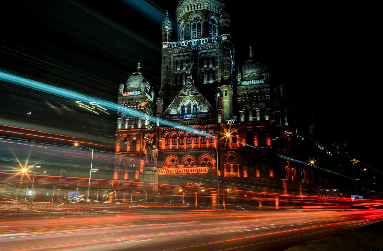 Municipal Corporation of Greater Mumbai looking dazzling at night.