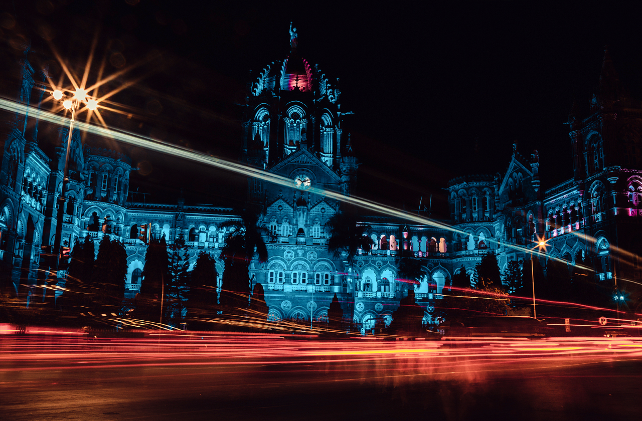 Mumbai's famous Chhatrapati Shivaji Terminus railway station at night.