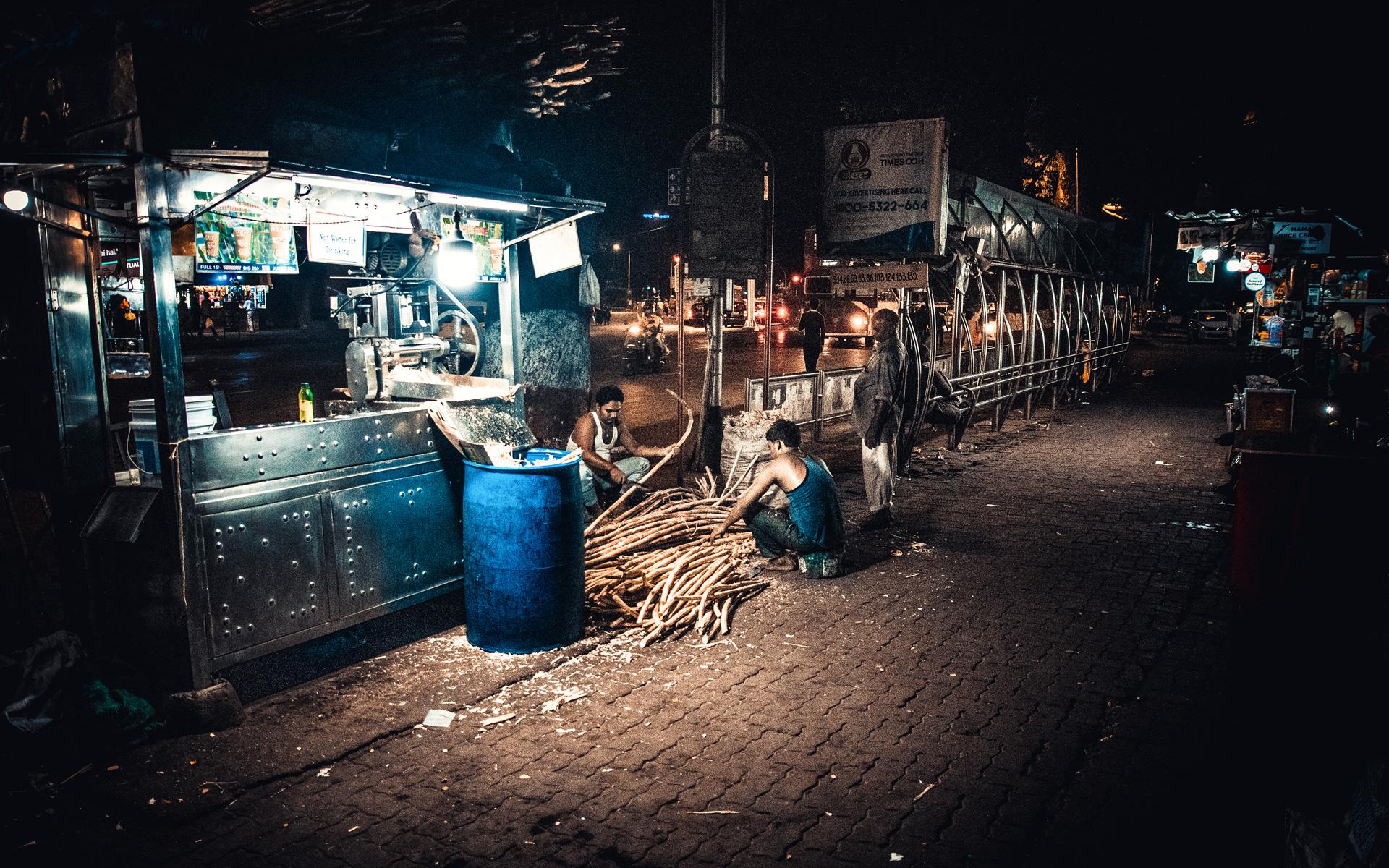Sugar cane stalls are everywhere in Mumbai. People drink these cheap drinks to get some extra energy boost during the day.