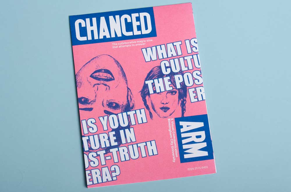 Front cover of the Chanced Arm Collaboration with Visual communication students at Birmingham city University