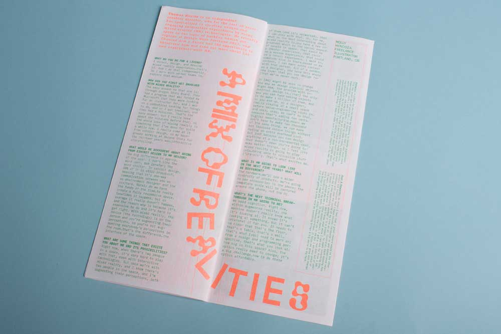 spread from the Chanced Arm Collaboration with Portland State University (Oregon, USA) Graphic design Students