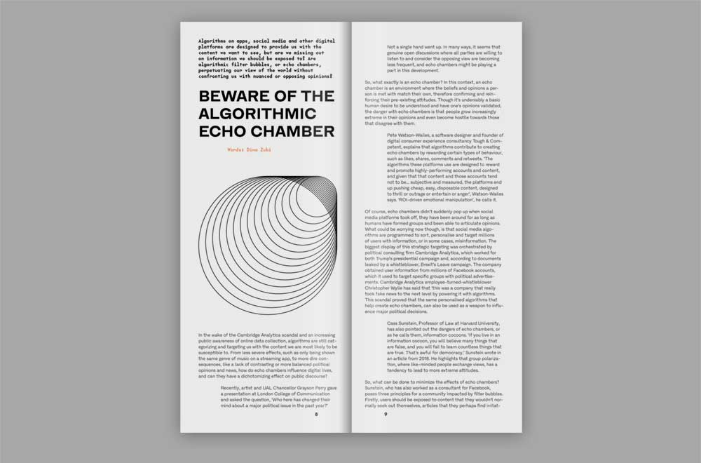 Spread from 'our algorithmic lives' publication