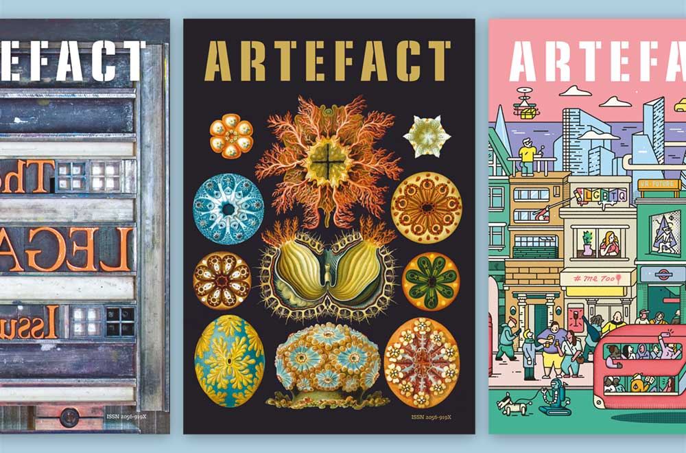 A selection of front covers for Artefact magazine.