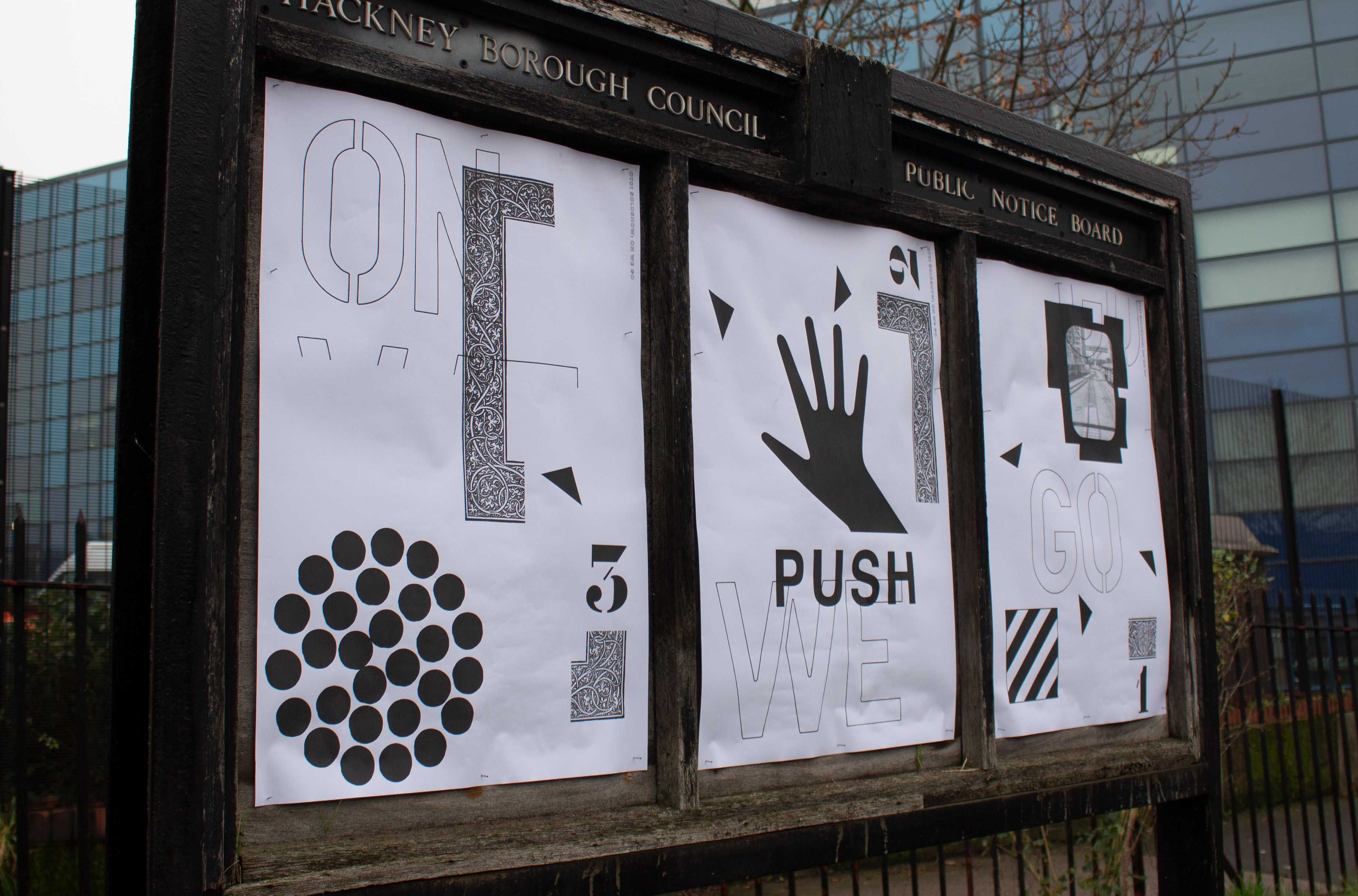 The Solo show was a pop-up 24hr exhibition on un-used London Borough of Hackney noticeboards.