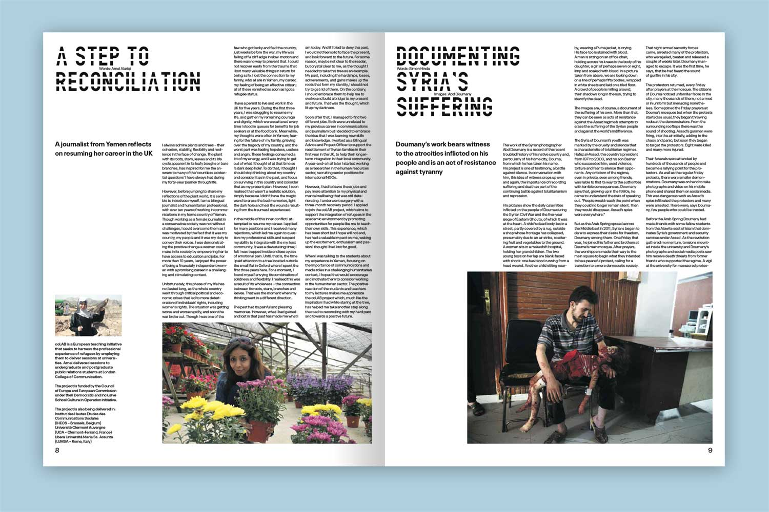 Double page spread from Visible Justice publication for London College of Communication