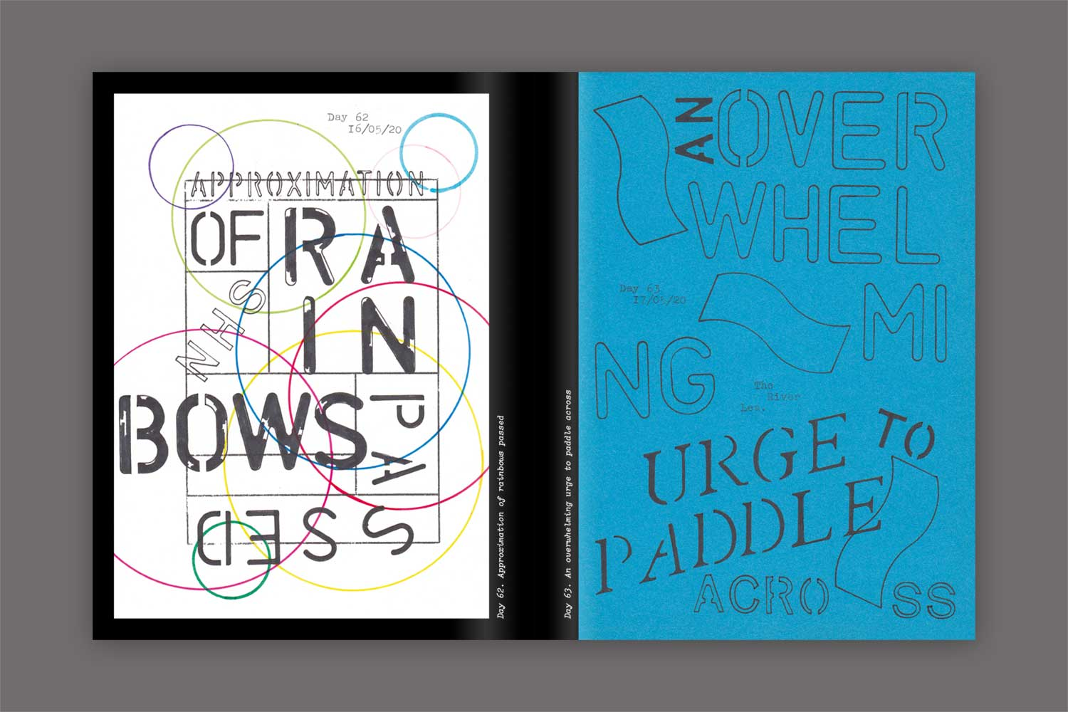 A spread from In Isolation. Day 62 white paper with a grid stamped on it, and circles of difference colours and sizes are drawn all over it. In the grid 'approximation of NHS rainbows passed' is stencilled. Day 63 On blue paper the words 'an overwhelming urge to paddle across' is stencilled in different type faces