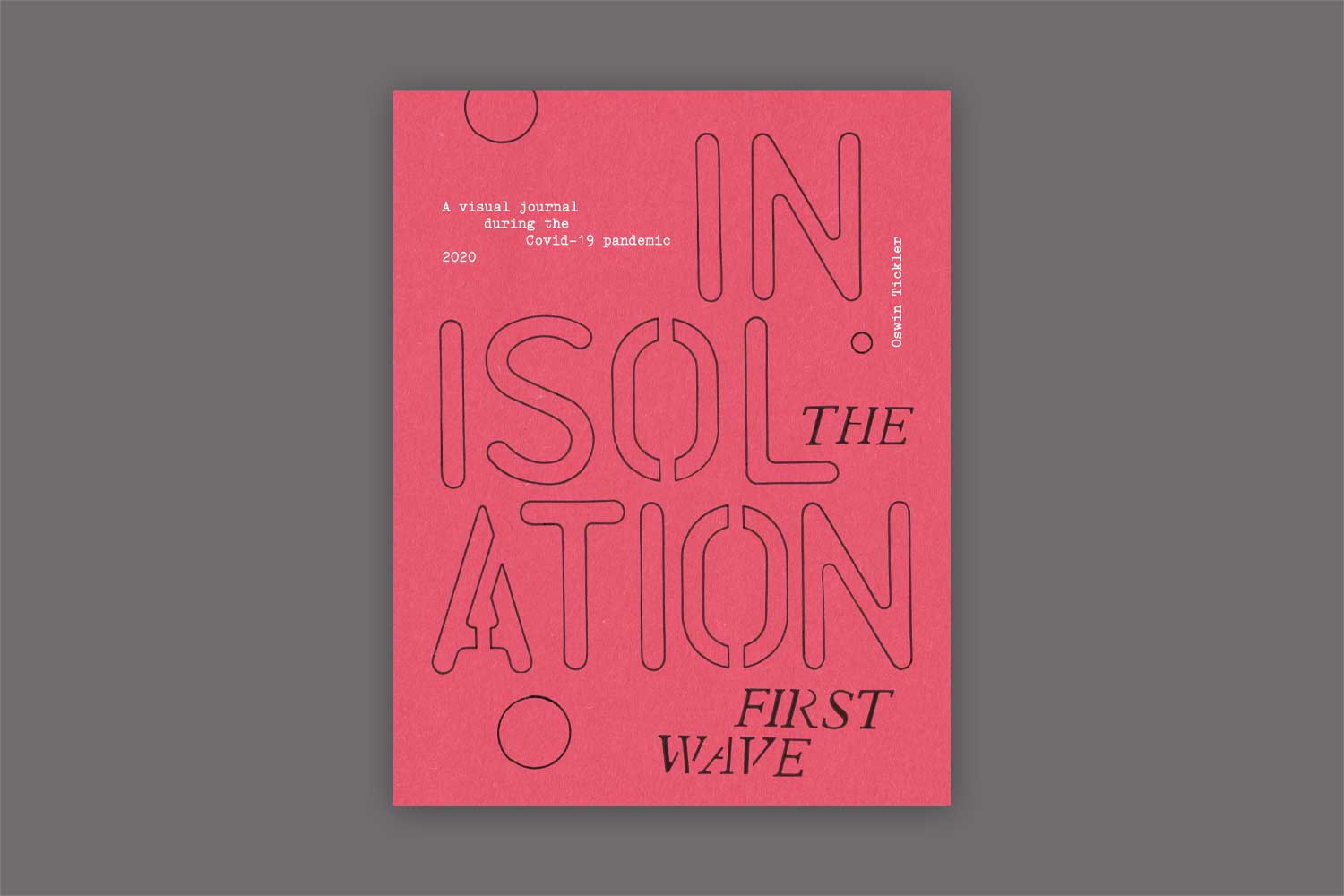 The front cover of 'In Isolation: The first wave' book. The cover is red, with black and white text across it.