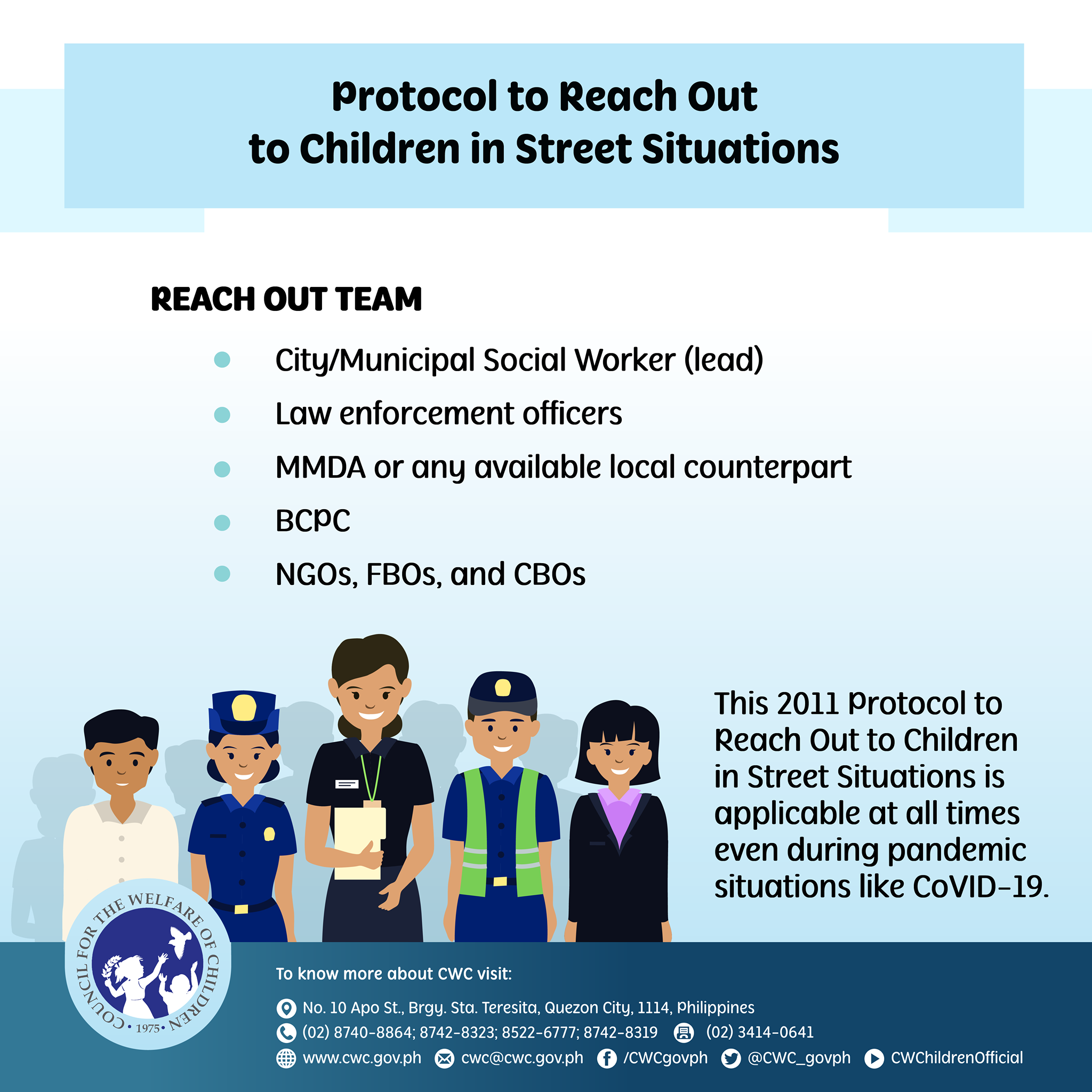 Protocol in reaching out to children in streets situation