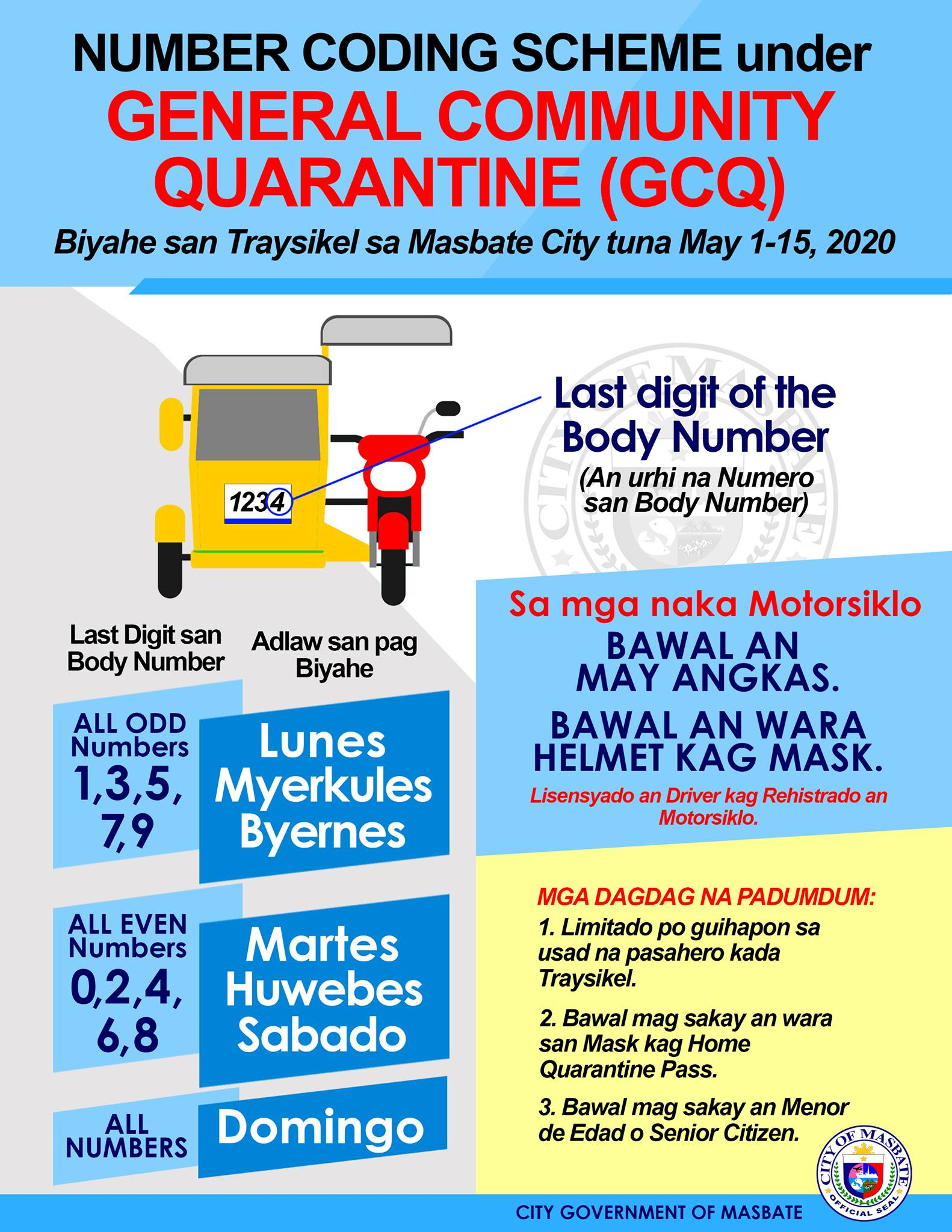 Masbate City's Guidelines for Public Transport with the Implementation of GCQ