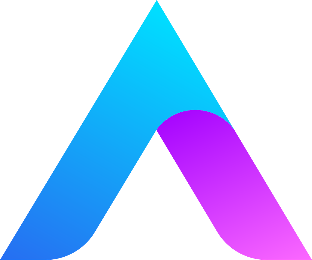 Blue and purple gradient in the shape of an A, as a symbol for relocation