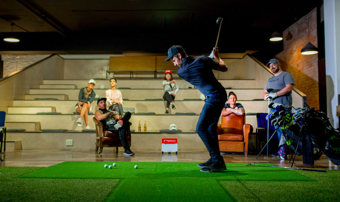 Golf simulator at Old Foundry Hotel