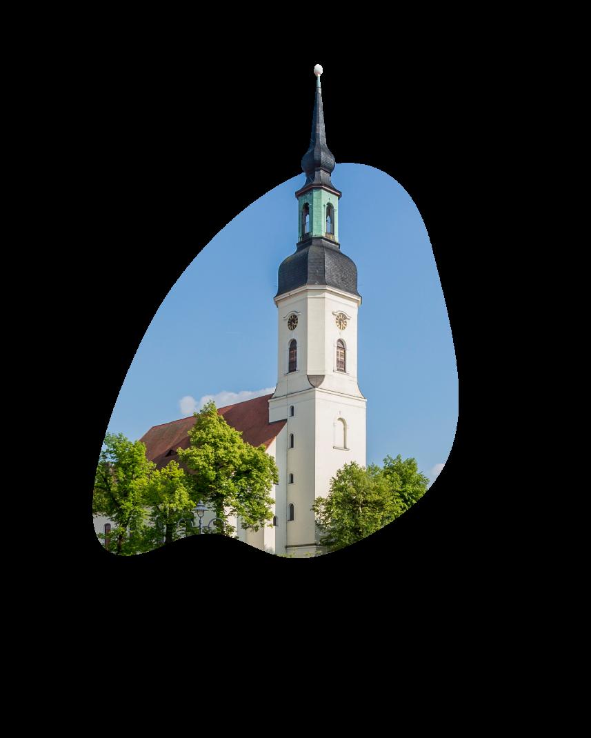 Church square and church tower of Lübbenau