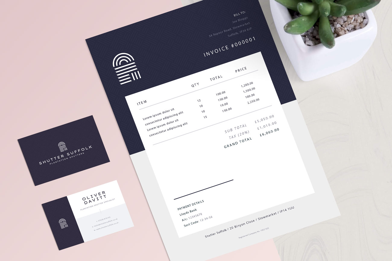 Business card and invoice template design