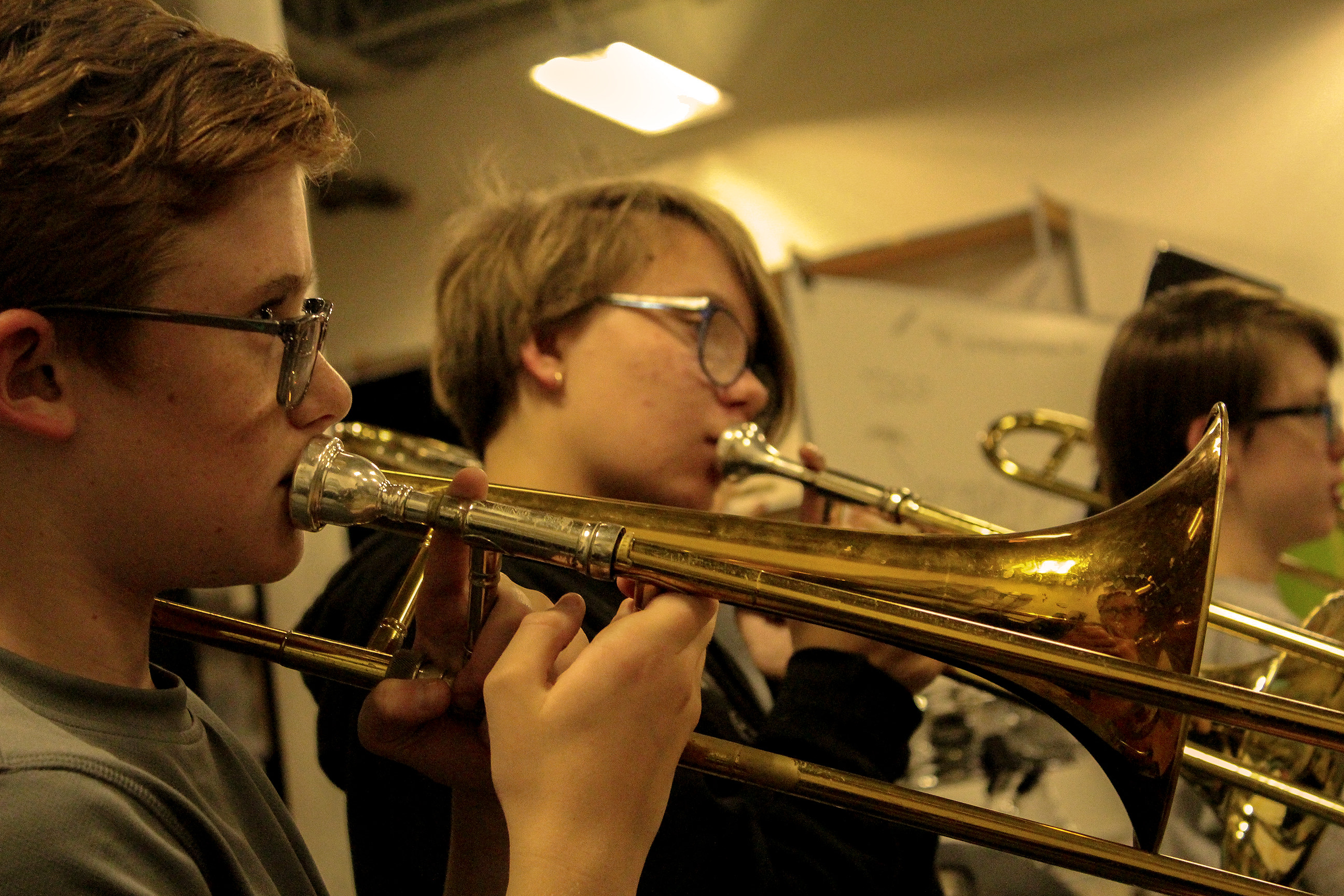 Band rehearsal, trumpet section.