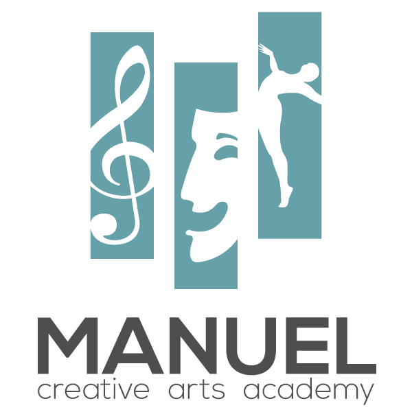 Manuel Creative Arts Academy Logo three banners one for music lessons, theatre classes and movement classes.