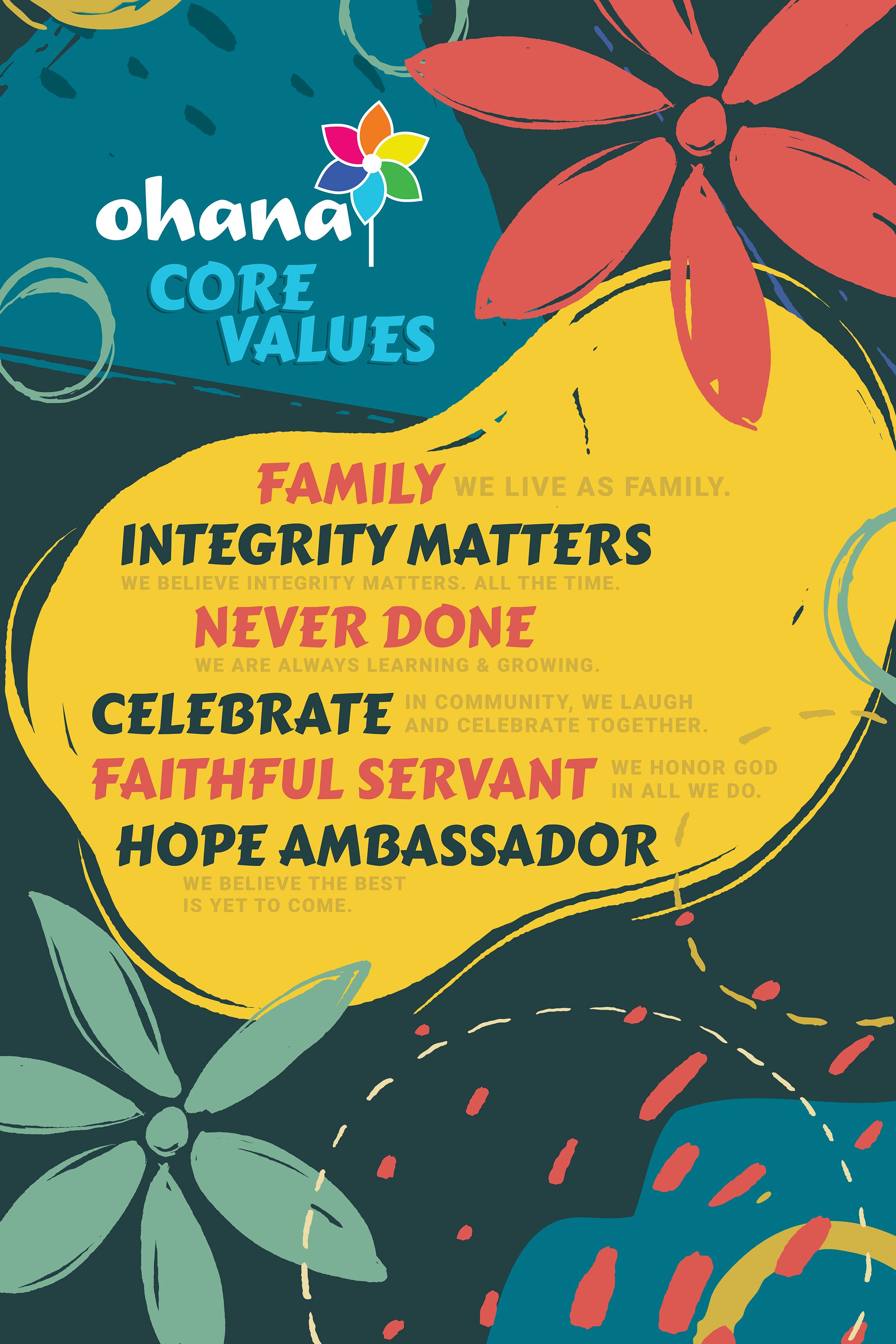 A poster describing Ohana's Core Values