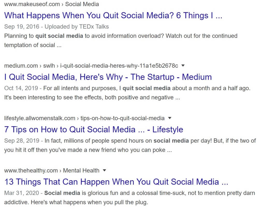 A list of articles on how and why to quit social media