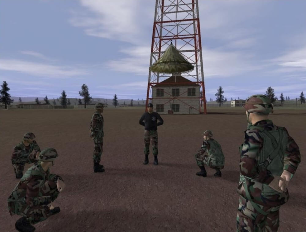 Virtual soldiers standing in a circle before a parachute drop