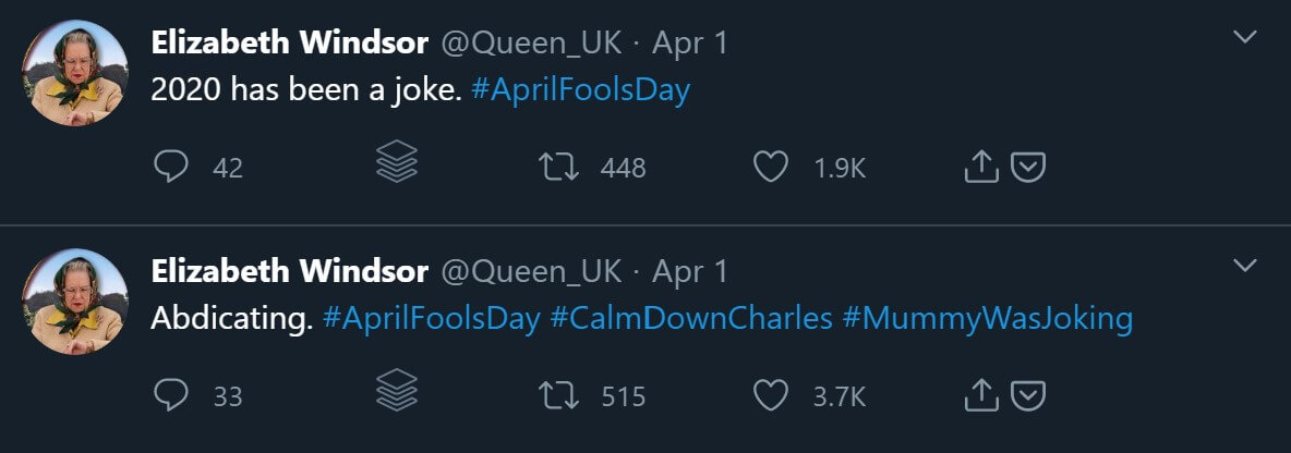 A parody account of the Queen