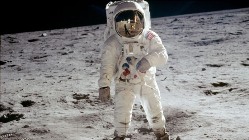 A picture of an astronaut on the Moon