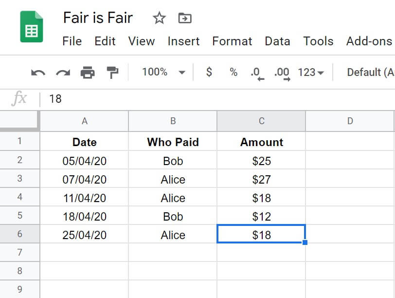 a Google spreadsheet keeping track of transactions