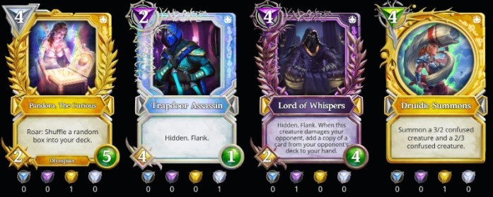 a row of four Gods Unchained cards