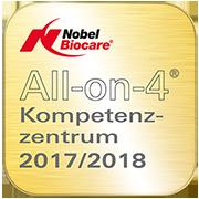 Siegel All-on-4 Kompetenzzentrum 2017/2018