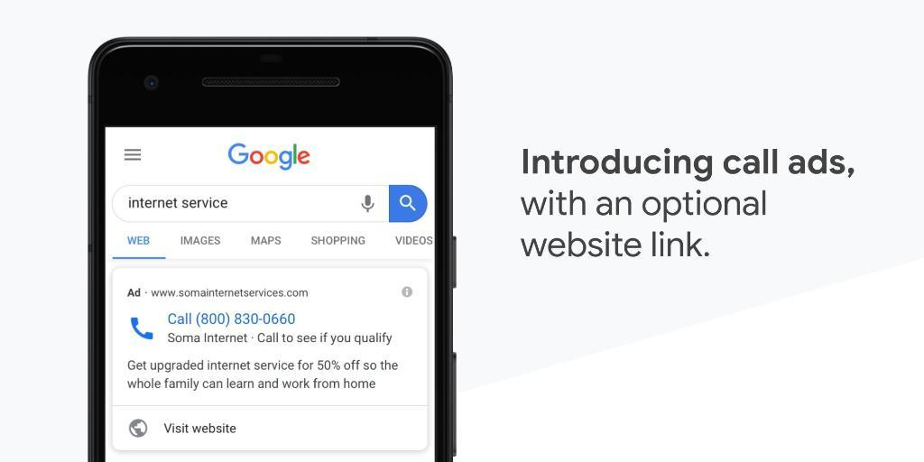 Google Updates Call Ads To Include An Optional Website Link