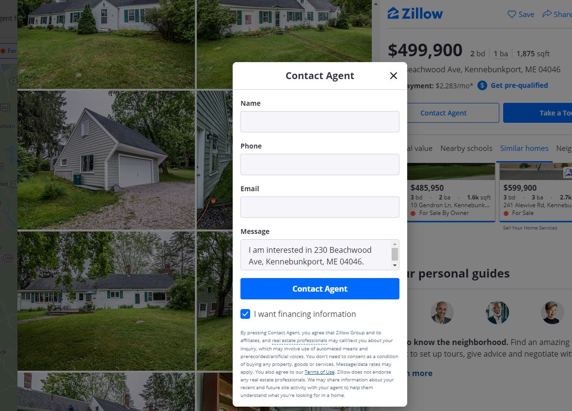 Contact Zillow Premier Agent Example