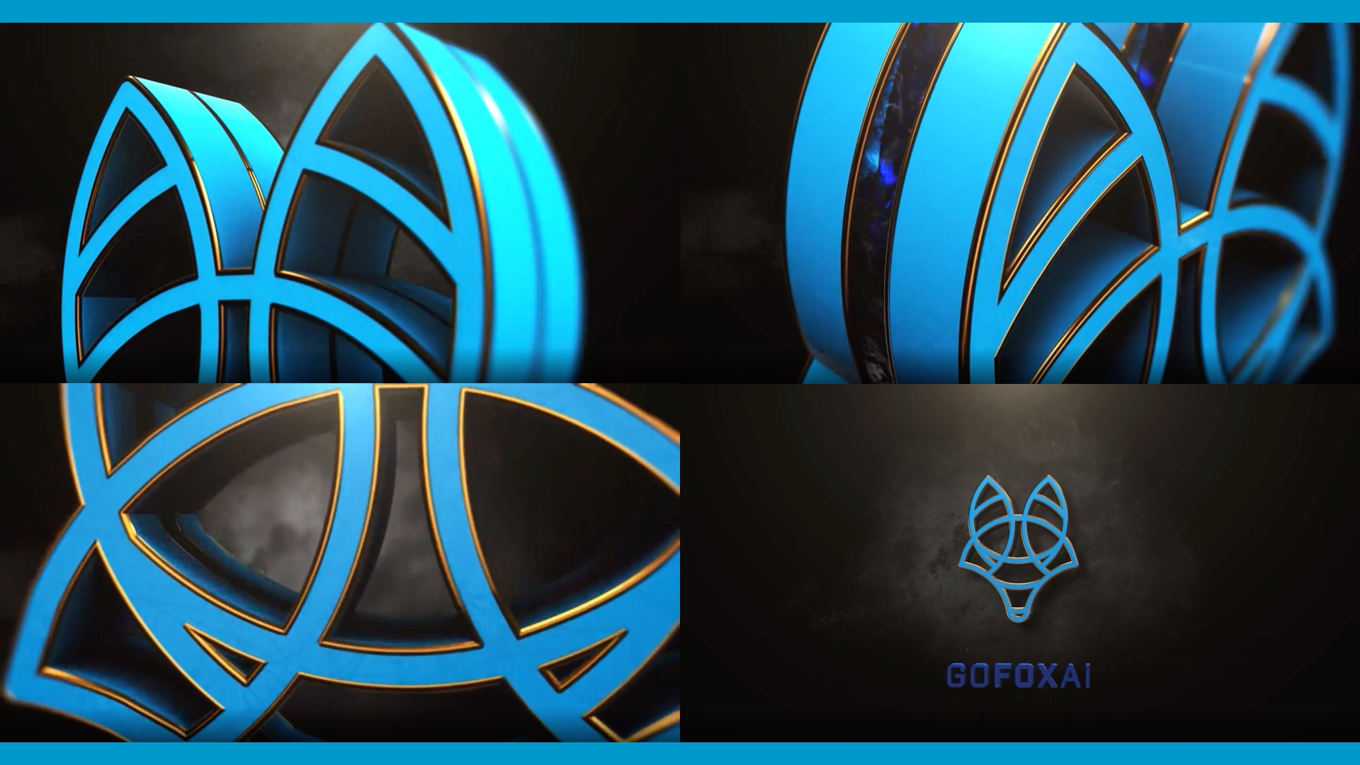 Presenting a logo sequence; four images of the GOFOXAI's logo from different angles on a dark wall.