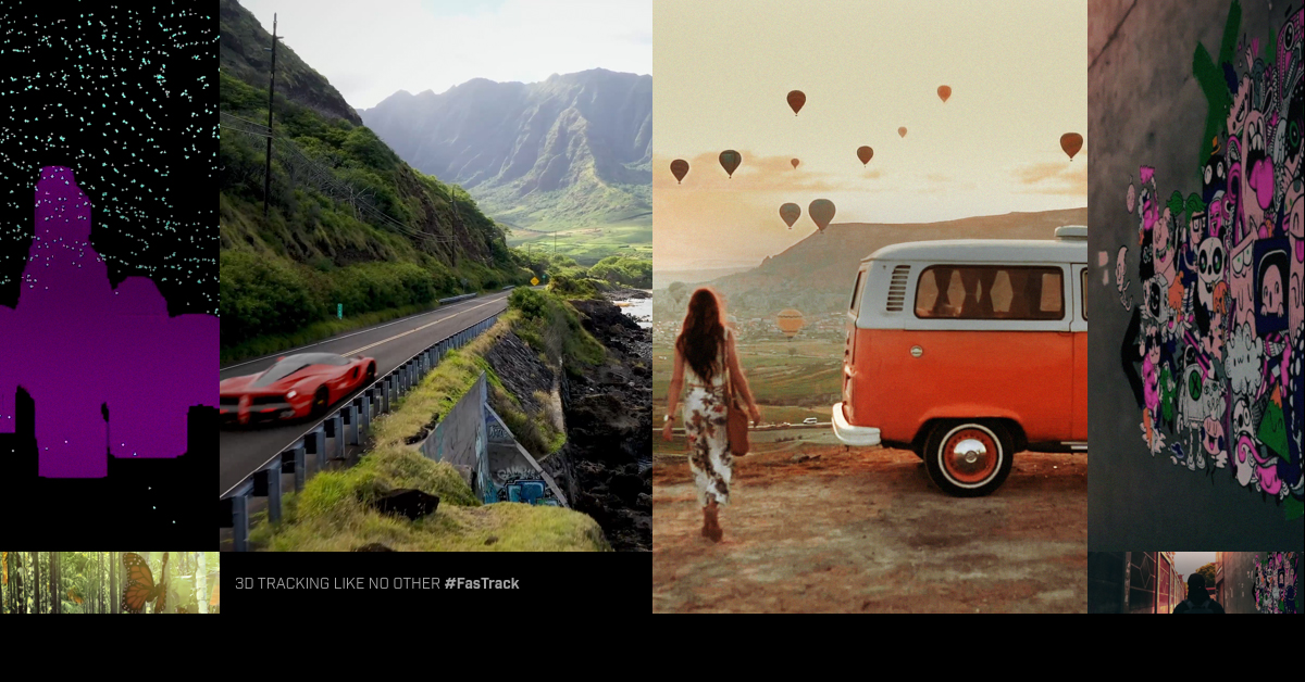 Collage of 5 scenes composited by FasTrack. AI-assisted masking with a point cloud, Ferrari on the coastal highway, butterfly in jungle, woman and orange Volkwagen van, graffiti in an alley.