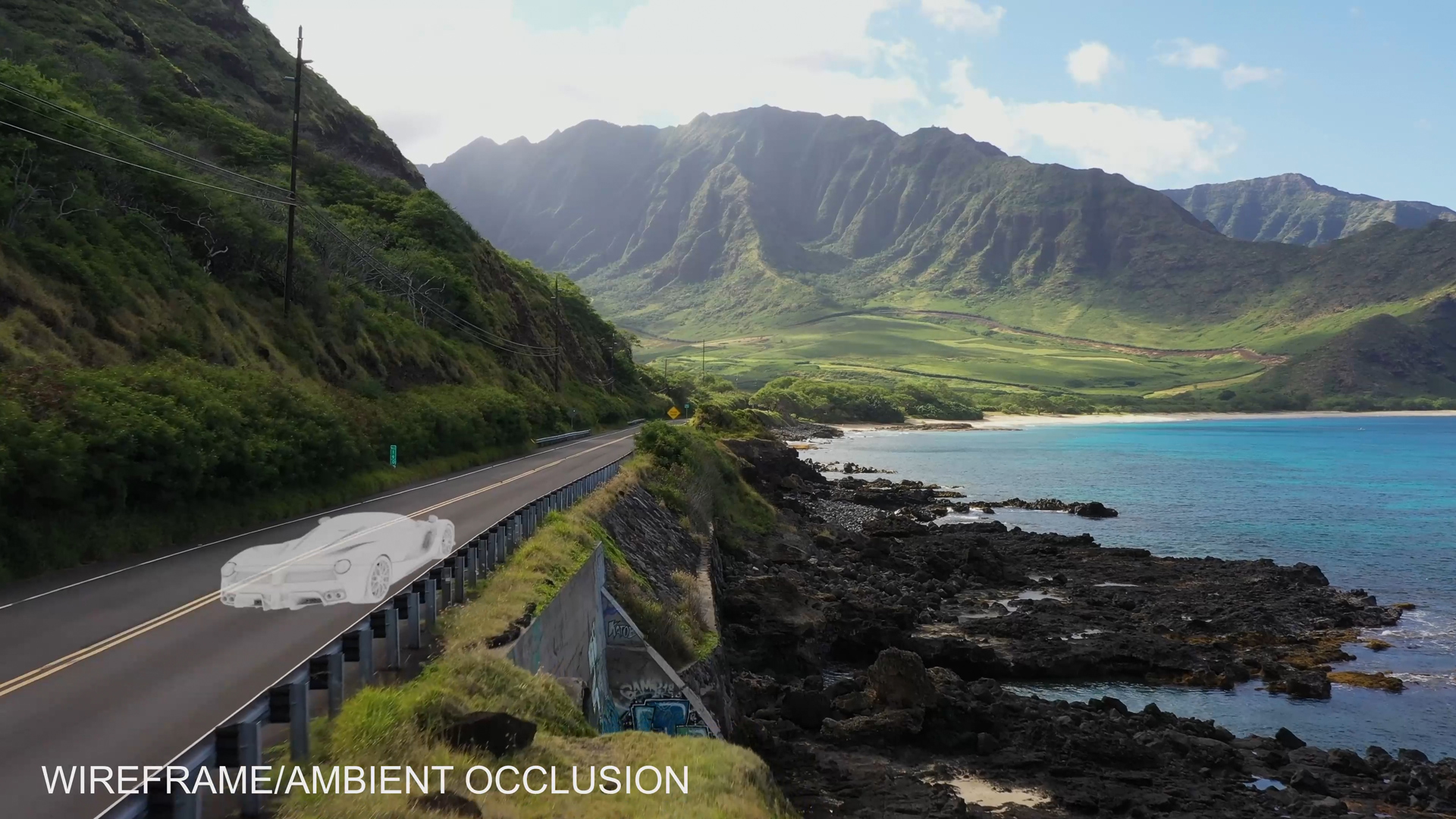 A Ferrari wireframe is composited into a scenic drive on the coastal highway using FasTrack's AI-assisted camera tracking.