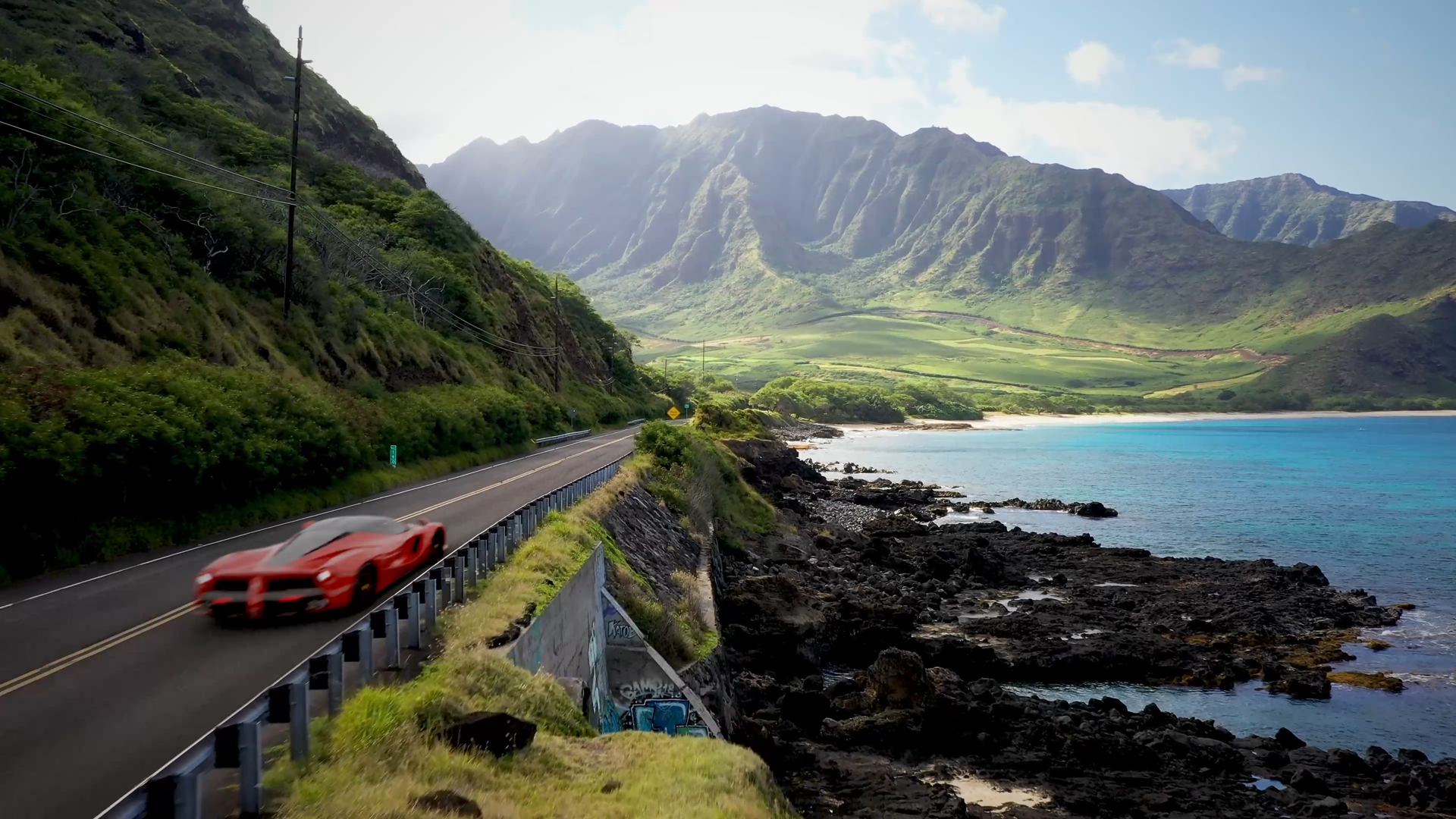 Final render of a red and black Ferrari composited into the coastal highway using FasTrack's AI-assisted camera tracking.