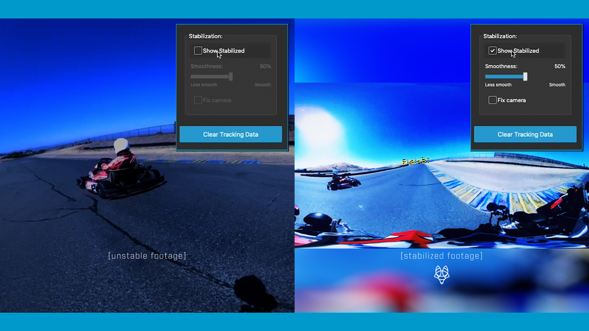 Before and after of how easily a user can stabilize a 360-degree go-cart scene using FasTrack's UI.