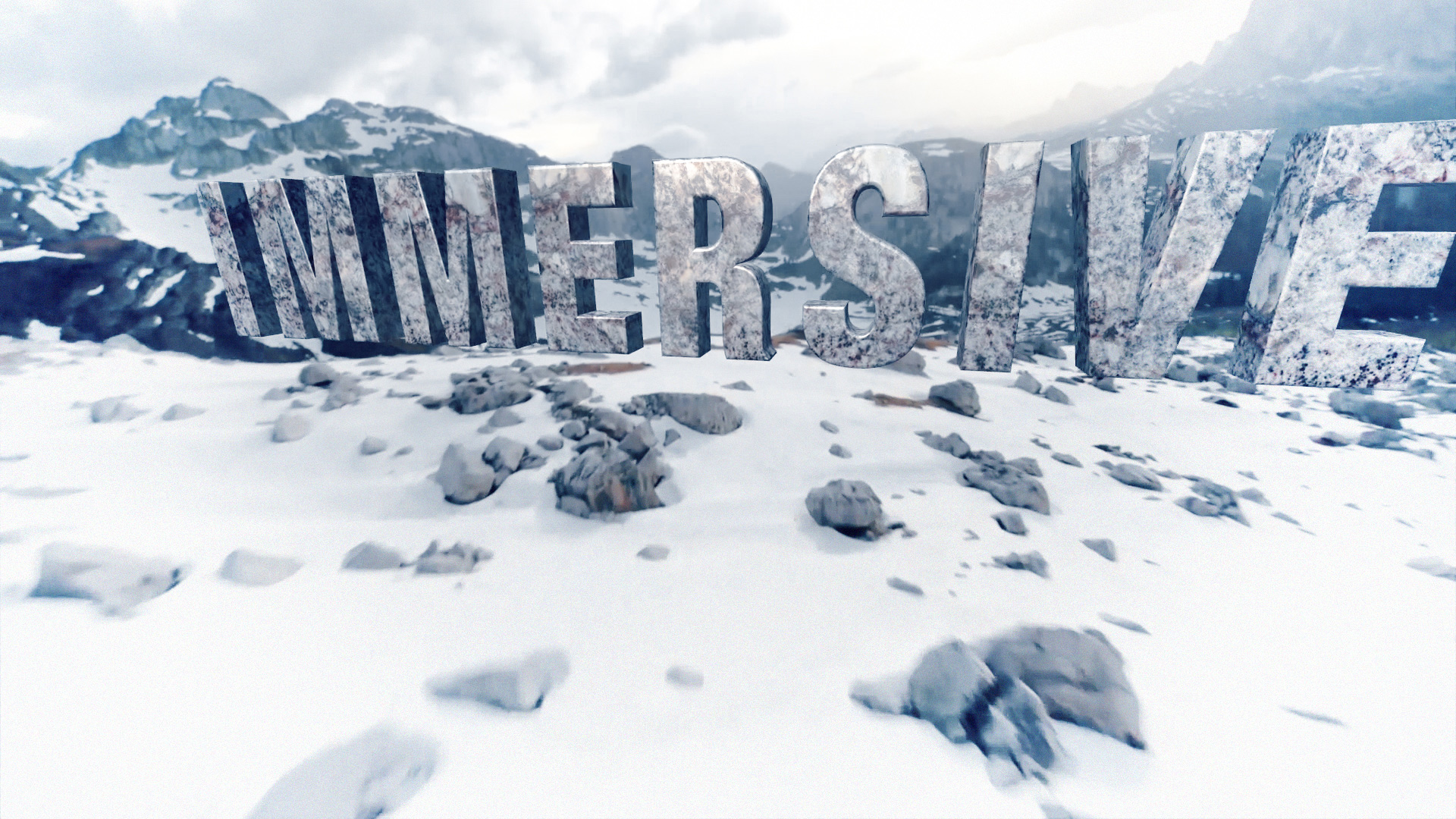 """The word """"Immersive"""" in 3D composted into a dynamically moving, snow-covered mountain scene."""
