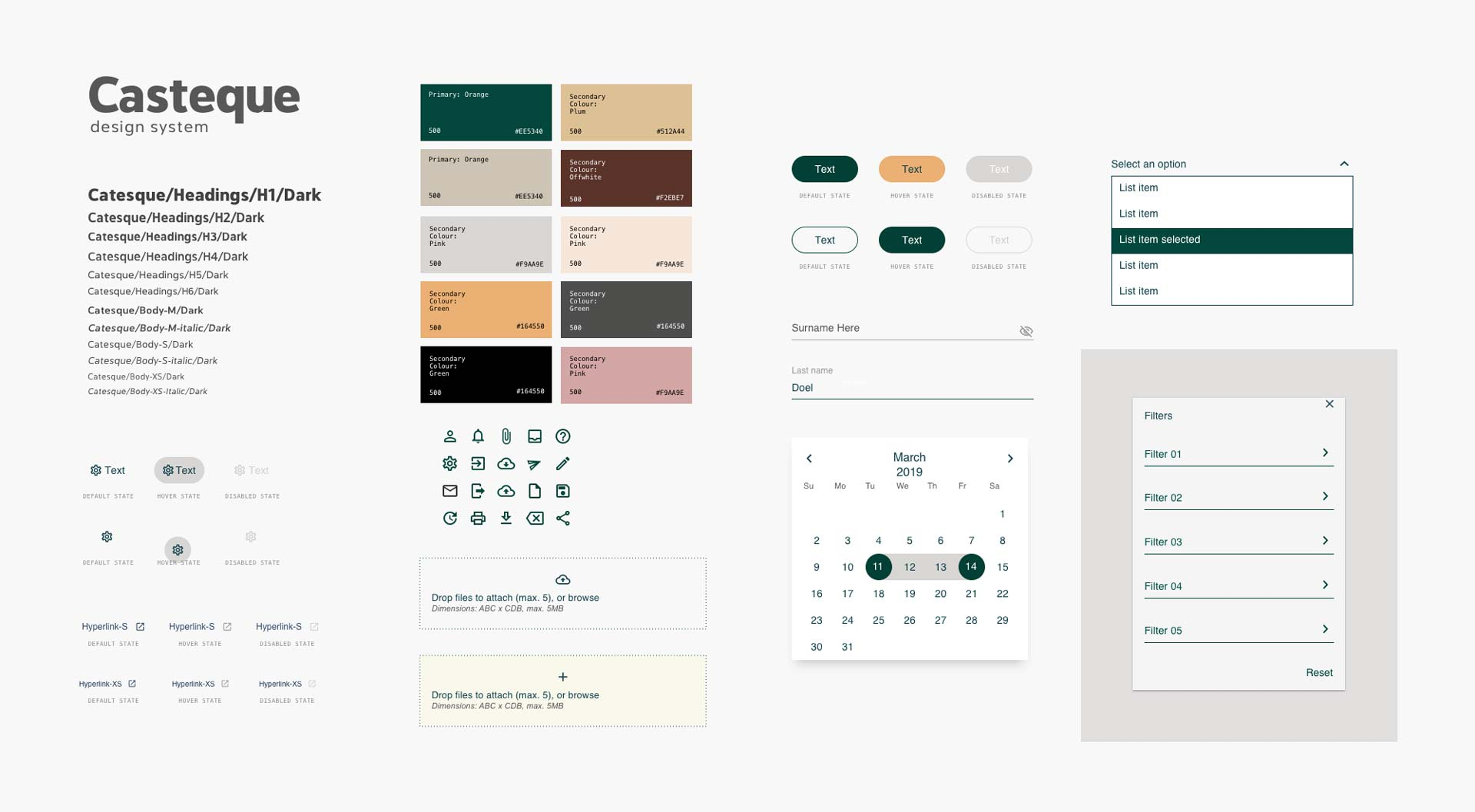 """A snippet of a Design System for the fiction-based brand """"Casteque."""" Includes: typography, buttons, colour palette, icons, calendar, drop-down, input fields, filters, and dropzone."""