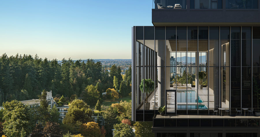 """""""Central Park House"""" by Bosa Properties is an example of one of their many thoughtfully designed towers, connecting to nature and challenging the typical high-rise structures."""