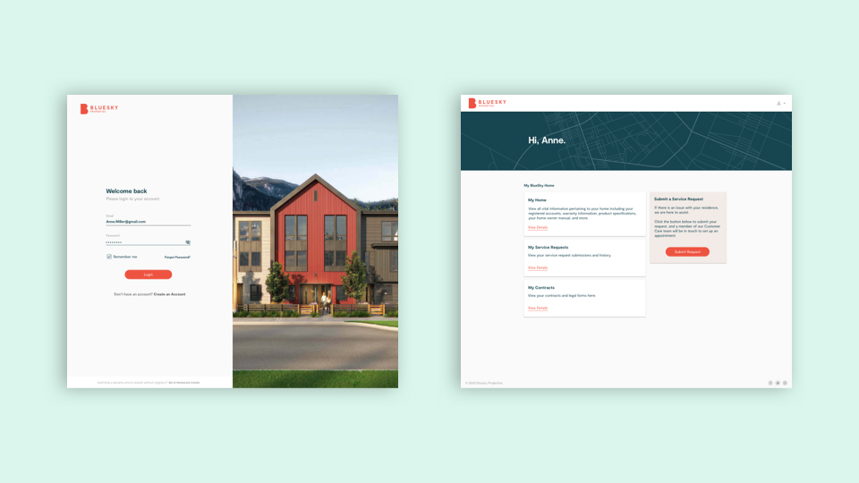 An example of a fully branded portal for BlueSky Properties; a place where users can log in and submit an immediate service request.