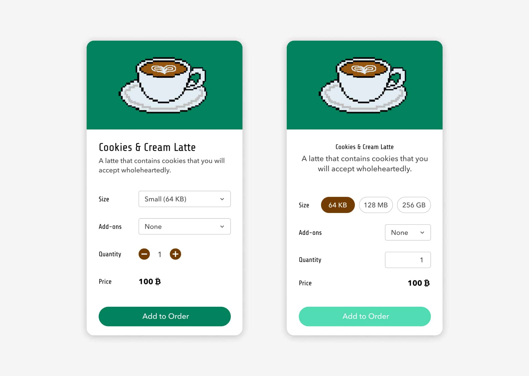 An image showing two different mobile mockups of ordering a drink on Digiccino's website.